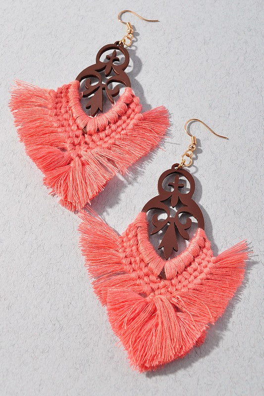 Take a Compliment Wooden Fringe Earrings