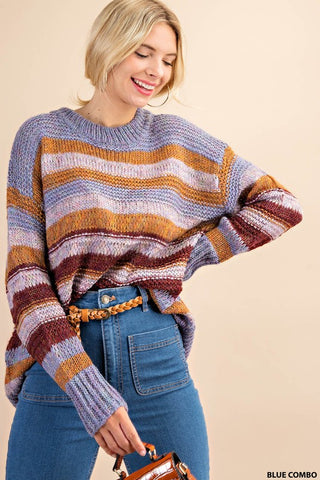 The Maggie Blue Striped Sweater