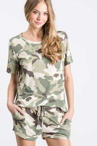 The Camille Camo Olive Short Sleeve Lounge Top