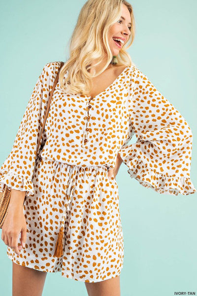 Toffee Speckled Button Down Romper