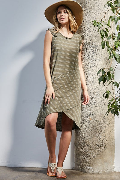Crossing Bridges Top Stitch Olive Knit Dress