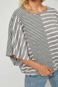 Favorite Spot Gray Contrast Striped Top