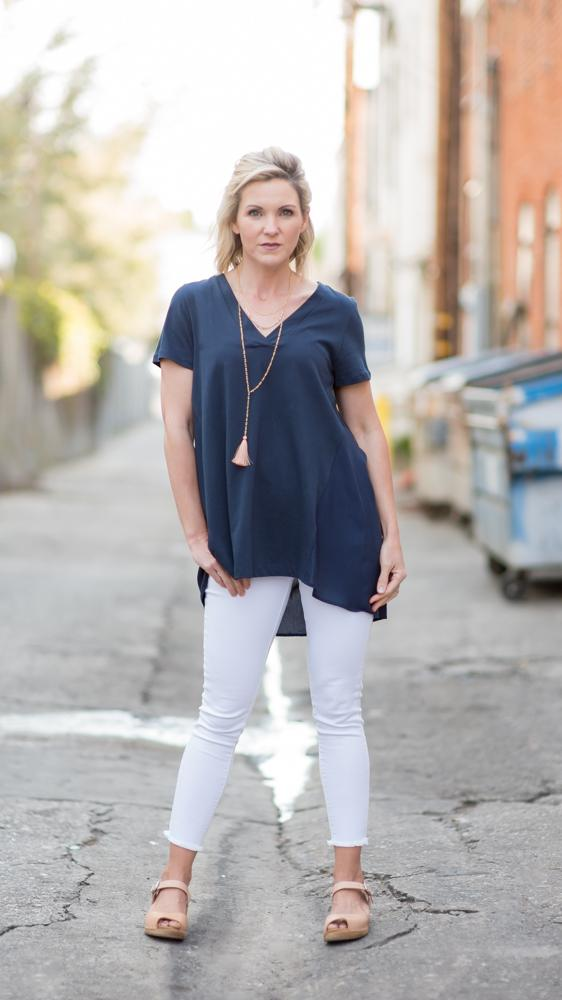 The Jackie V-Neck Blouse in Navy