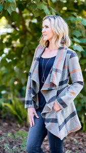 Pretty in Plaid Shawl Collar Coat w/ Belt
