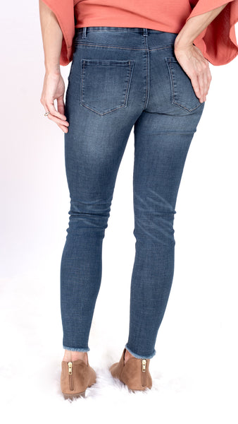 Lola Medium Wash Frayed Stretch Skinny Jean