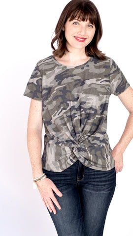 Twist Front Camo Knit Top