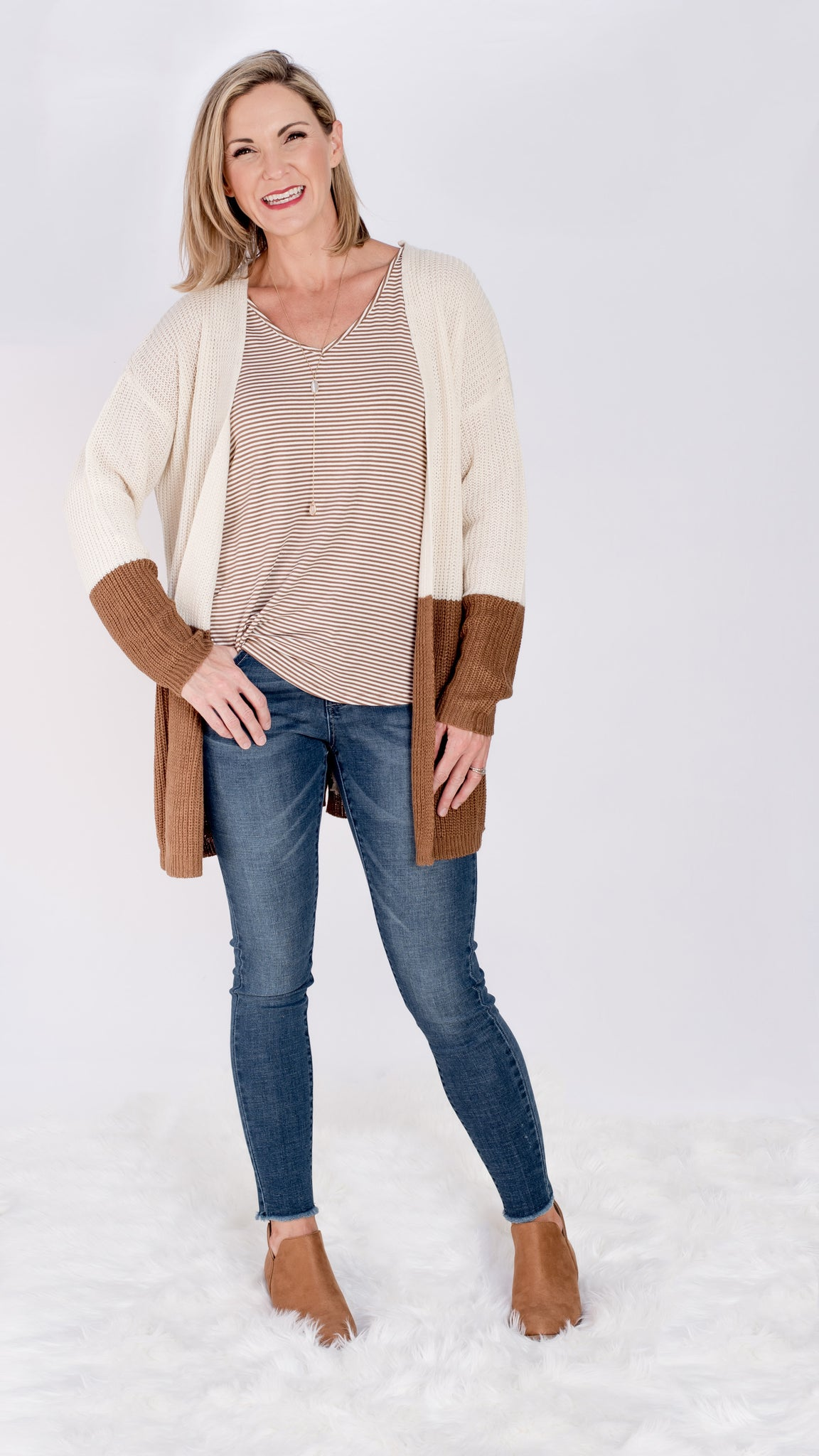 Falling Leaves Braided Back Color Block Cardigan