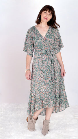 Floating Daises Wrap Midi Dress