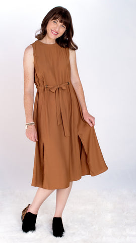 Pumpkin Butter Midi Sash Dress