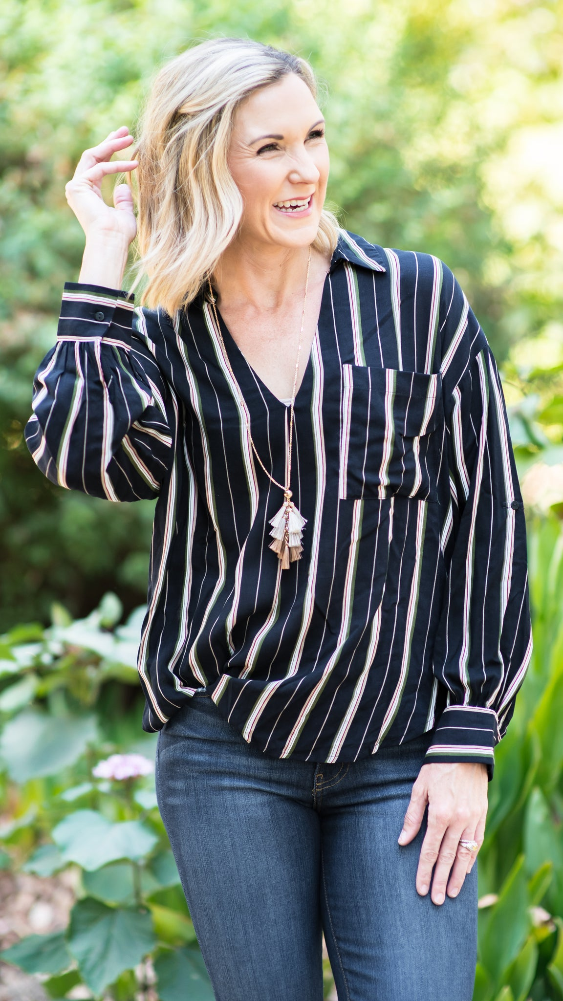 Keep It Real Drop Shoulder Pinstripe Navy Blouse