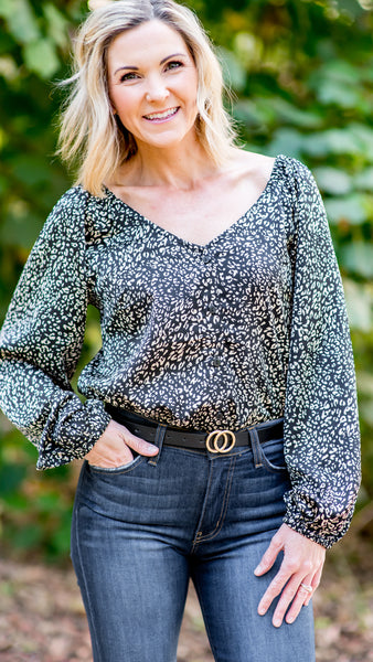 Time to Shine Leopard Blouse in Black