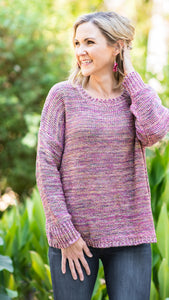Pink Sunsets Oversized Drop Shoulder Sweater