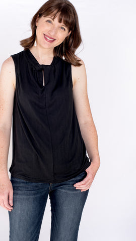 PRE-ORDER ITEM!! Night Out Black Ribbed Twist Tank