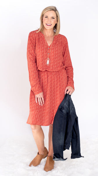 Olivia Ditsy Rust Shirt Dress