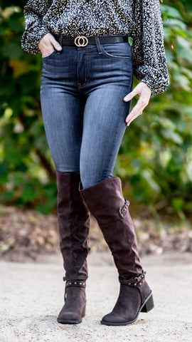 Studded Over The Knee Dark Brown Suede Boot