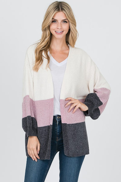 Snowy Slopes Mauve Striped Sweater Cardigan