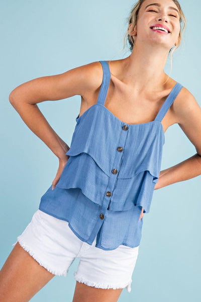The Mallory Button Down Tiered Top- 2 Colors!