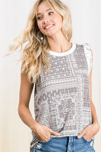 The Erica Ethnic Print Knit Ruffle Sleeve Tank- 2 Colors!