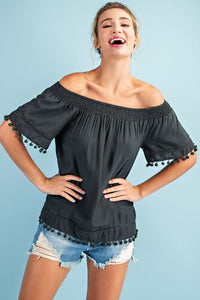 Top it Off Pom Pom Trimmed Blouse- 2 Colors!