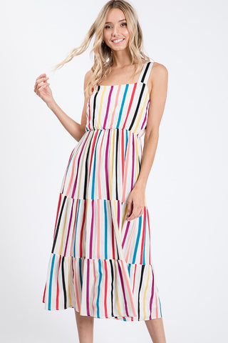 The Sallie Striped Ruffle Midi Dress