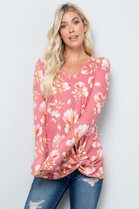 Dusty Rose Floral Long Sleeve Knit Top