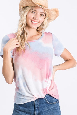 Soft Sunsets Pink Tie Dye Knot Top