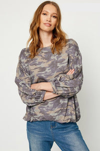 Finely Faded Camo Drawstring Hem Top