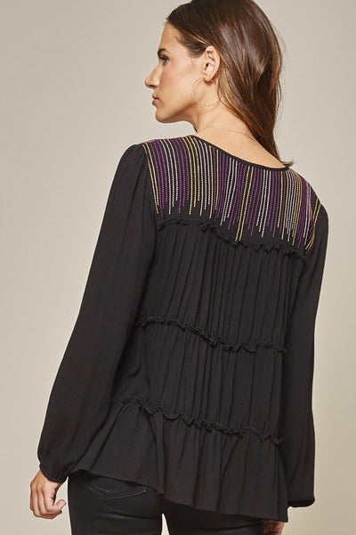 Lean on Me Plum Embroidered Stripe Top in Black