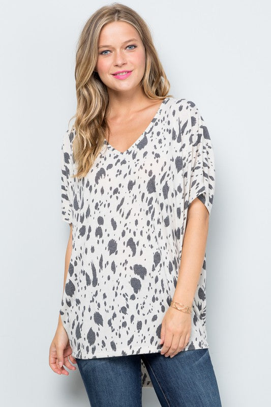 Dalmation Print Dolman V-Neck Top