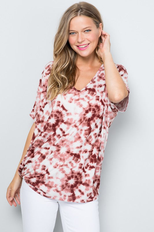 Perfect Harmony Cranberry Tie Dye Tunic Top