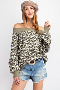 Leopard Printed Terry Knit Off Shoulder Top