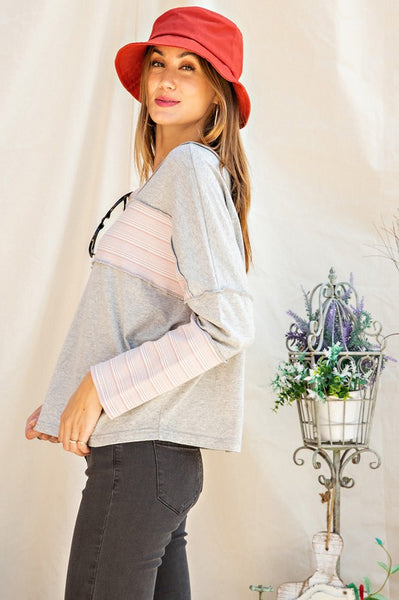 Mixed Up Micro Stripe Gray Knit Top