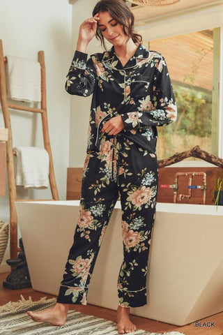 Satin Floral Pajama Set