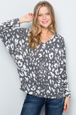 Gray French Terry Dolman Sleeve Top