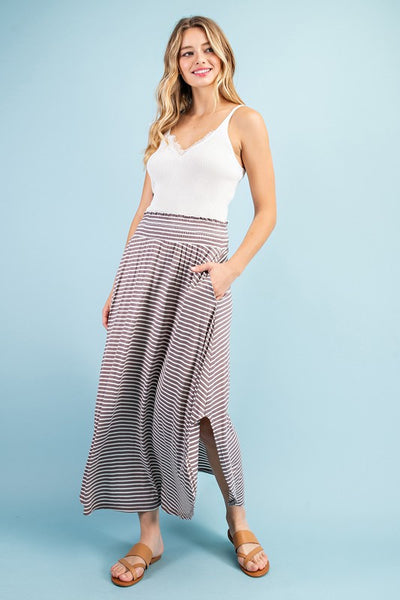 The Skylar Striped Smocked Maxi Skirt- 3 Colors!