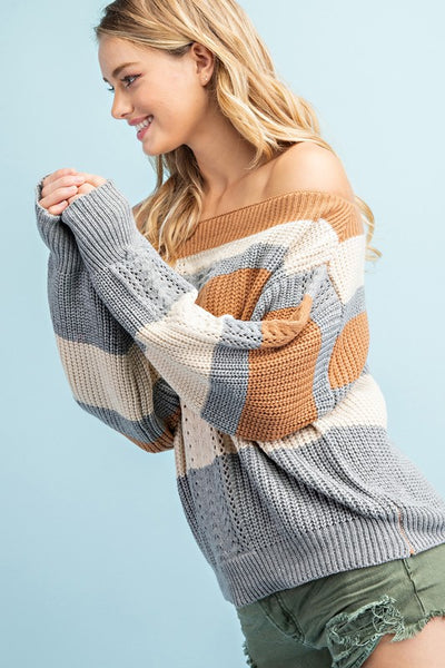 Off the Cuff Cute Striped Slouchy Sweater