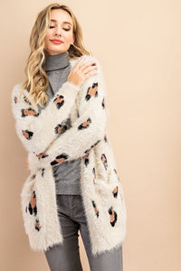 Leopard Eyelash Pocket Cardigan