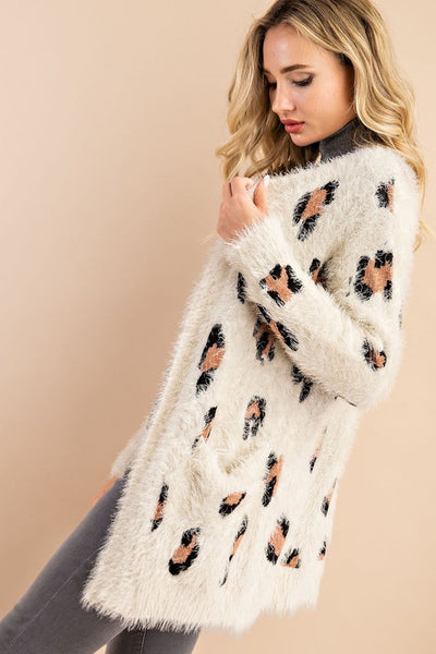 RESTOCKED!!! Leopard Eyelash Pocket Cardigan