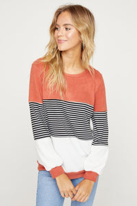 Rather Me Rust and Stripes Long Sleeve Top