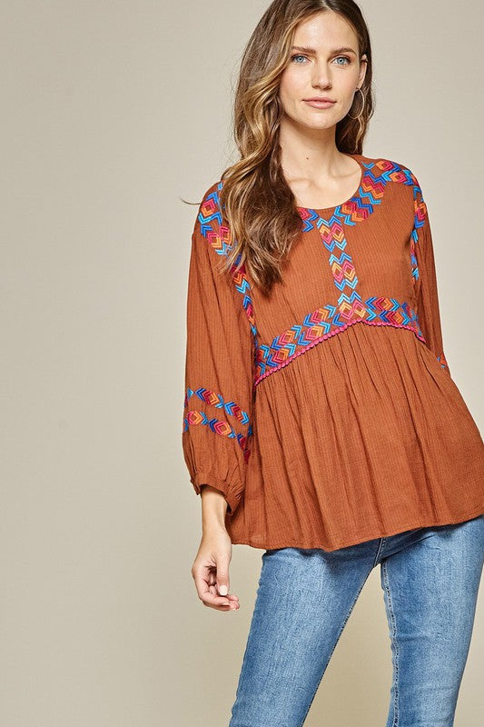 Like, Really Pretty, Rust Detailed Embroidery Top