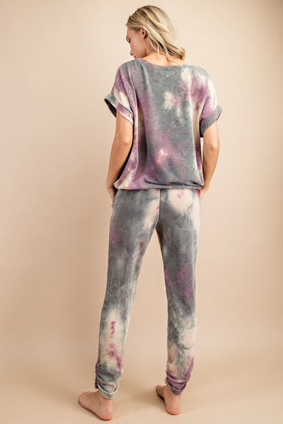 No Worries Olive and Plum Tie Dye Lounge Set- 2 Pieces!
