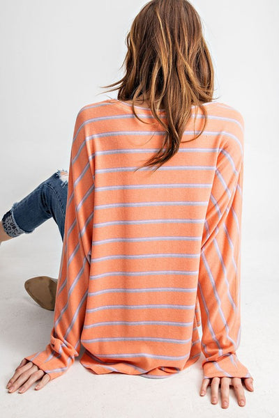 Cozy N' Bright Stripe Long Sleeve Coral Dolman Top
