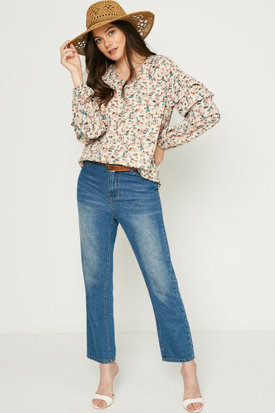 The Annabelle Floral Ruffle Sleeve Top