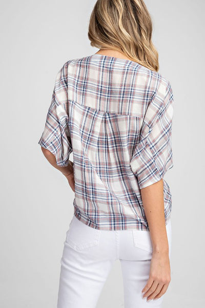 Sweetly Plaid V-Neck Button Down Top
