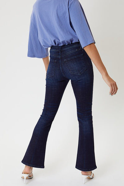 Petite High Rise Button Fly Flare Jeans