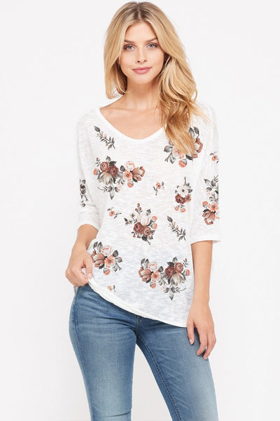 Never Too Late Floral V-Neck Sweater Top