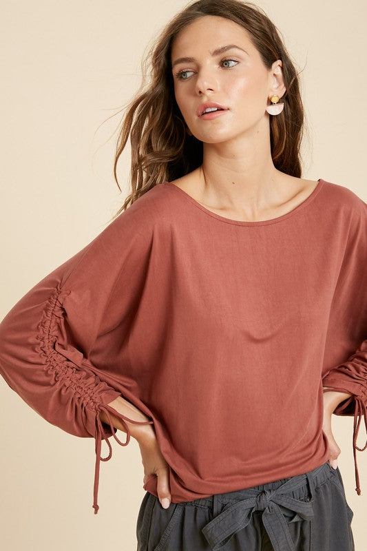 The Monica Modal Ruched Sleeve Knit Top-2 Colors!
