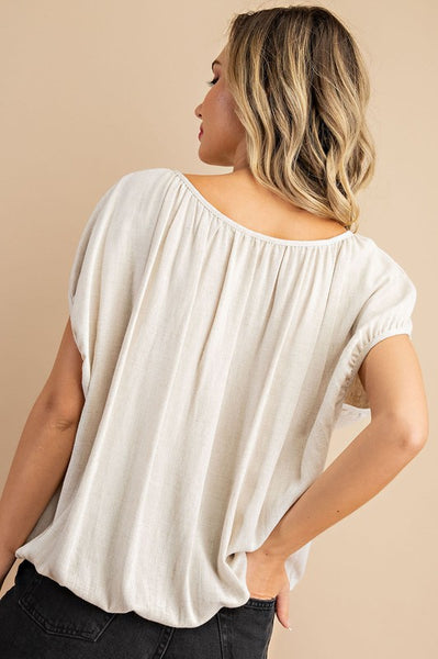The Brie Button Trim Short Sleeve Top-2 Colors!