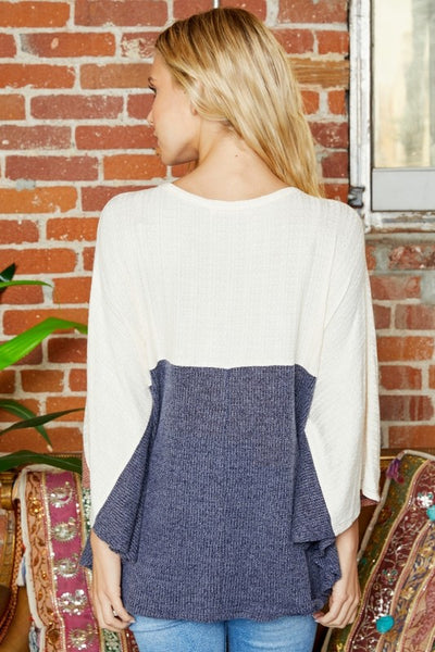 Stay Awhile Navy Color Block Poncho Top