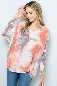 Burnt Umber French Terry Tie Dye Long Sleeve